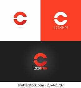 letter C logo design icon set background
