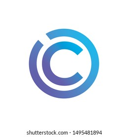 letter C logo design template elements, letter logo C, copyright logo design