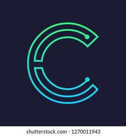Letter c logo design template,Technology abstract dot connection cross vector logo icon circle logotype