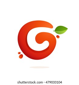 Letter C logo in fresh juice splash with green leaves. Vector elements for natural application, ecology presentation, business card or cafe posters.