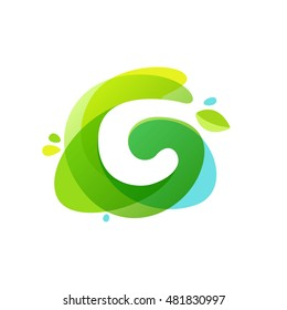 Letter C logo at green watercolor splash background. Vector elements for posters, t-shirts, ecology presentation or card.