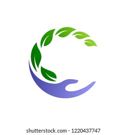 letter c logo for health care, leaf and hand logos in the form of letters c