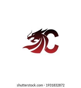 Letter C logo icon with dragon design vector illustration