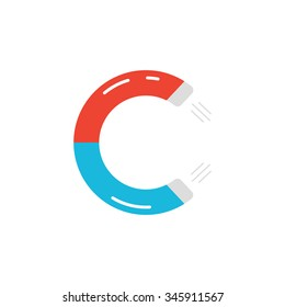 letter c logo like magnet icon. concept of natural magnetism, unique type, attracting strength, electric field. isolated on white background. flat style trend modern c logos design vector illustration