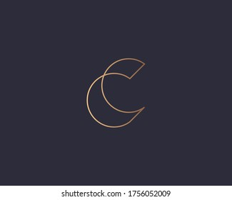Letter C logo monogram, minimal style identity initial logo mark. Golden gradient parallel lines vector emblem logotype for business cards initials invitations ect.