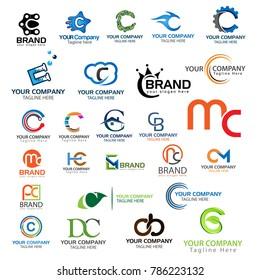 Letter C logo set. Set of creative C letter logo vector.
