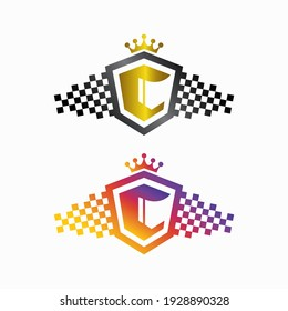 letter c logo with shield and crown. fit for sports or automotive logo.