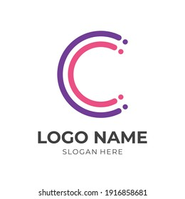 letter C logo template flat pink and blue color style