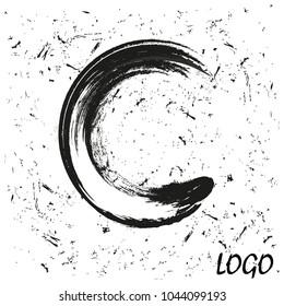 Letter C logo for web design. grunge background