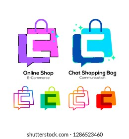 Letter C logotype Colorful on Shopping Bag and Chat Bubble logo, Online shop sign, Fashion Store icon, Marketing and E-commerce , Social Networking and Communication Digital concept for your Business