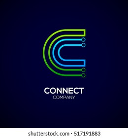 Letter C logotype green and blue color,Technology and digital abstract dot connection vector logo