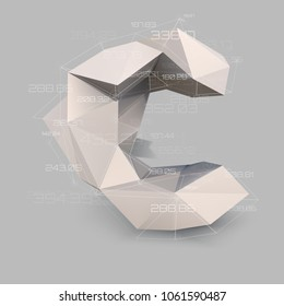 letter C  in low poly style. Abstract virtual transparent network with data. Virtual object vector concept