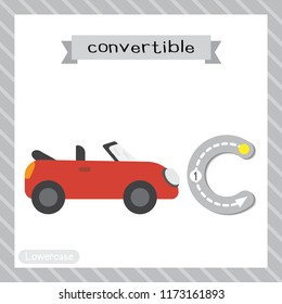 Letter C lowercase cute children colorful transportations ABC alphabet tracing flashcard of Convertible for kids learning English vocabulary and handwriting Vector Illustration.