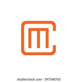 e9980d32a71 letter C and M monogram square shape logo orange