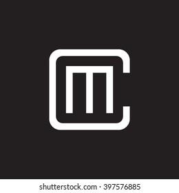 letter C and M monogram square shape logo white black background