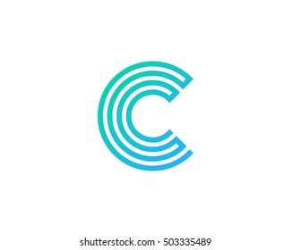Letter C Maze Line Logo Design Template