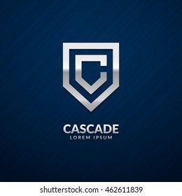 """Letter """"C"""" monogram and shield sign combination. Line art logo design. Symbolizes reliability, safety, power, security. Eps10 vector luxury logotype."""