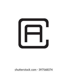 letter C and A monogram square shape logo black
