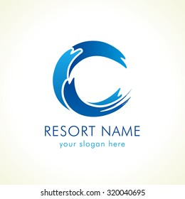 Letter C name logo. Tourist or healthcare business on shore, sports stained-glass blue colored icon as surf. Vector template, brand identity with volume. Sea natural food and products idea.