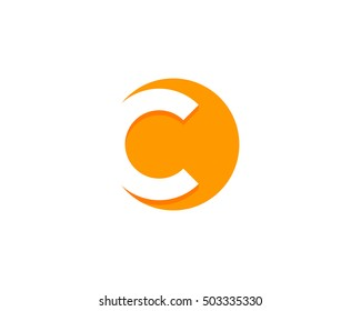 Letter C Negative Space Circle Logo Design Template
