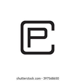 letter C and P monogram square shape logo black