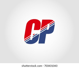 Letter C and P red and blue combination logo