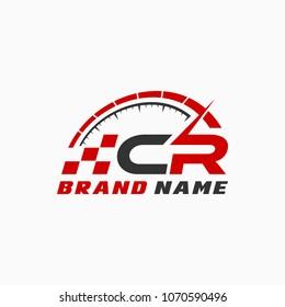 Letter C R logo icon design template elements