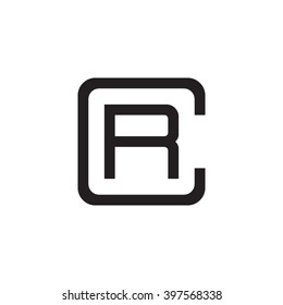 letter C and R monogram square shape logo black