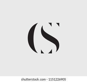 Letter C, S, CS, SC with cuts abstract alphabet, font, text, typography, initials design in dark gray color with light gray background icon for logo