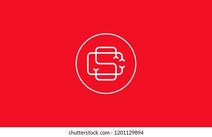 LETTER C AND S LOGO WITH CIRCLE FRAME FOR LOGO DESIGN OR ILLUSTRATION USE