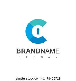 Letter C, Secure Logo With Key Hole Symbol