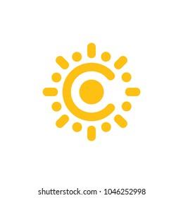letter c sun light design logo vector