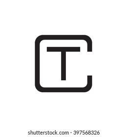 letter C and T monogram square shape logo black
