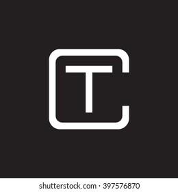 letter C and T monogram square shape logo white black background