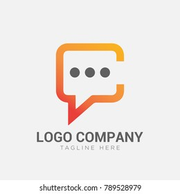 letter C talk logo concept, communication logo vector, social community icon template, symbol or icon vector