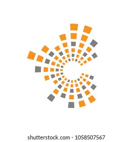 letter c technology logo, c letter square line data and technology logo