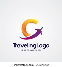 Letter C Travel Logo Template Design Vector, Emblem, Design Concept, Creative Symbol, Icon