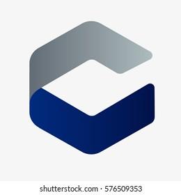 Letter C unique rhombus design. Logo vector template.