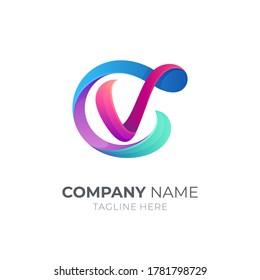 Letter C and letter V, CV, VC, 3d logo design in gradient vibrant colors