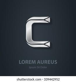 Letter C. Vector elegant silver font. Template for company logo. Metallic Design element or icon.