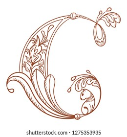 Letter C. Vector letter engraving style with flower and animal. Sketch hand drawn vintage