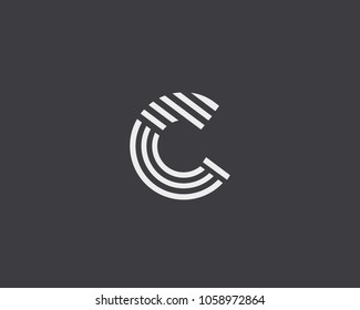 Letter C vector line logo design. Creative minimalism logotype icon symbol.