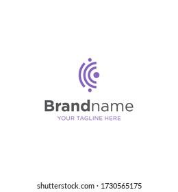 letter C vector logo design element, abstract information and identification fingerprint, thumbprint abstract logo