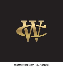 letter C and W monogram golden logo