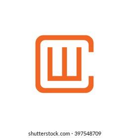 letter C and W monogram square shape logo orange