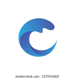 Letter C Water Wave Logo Vector