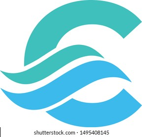letter C with wave logo. vector logotype