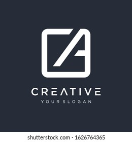 Letter CA Logo with square concept. Template Illustration Business Company Vector Logo Design. Creative minimalism logotype icon symbol. - VECTOR