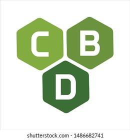 Letter CBD as Cannabidiol. Vector logo.