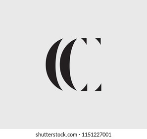 Letter CC with cuts abstract alphabet, font, text, typography, initials design in dark gray color with light gray background icon for logo